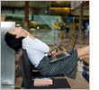 Woman relaxing in airport